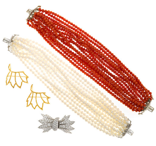 A cultured pearl, coral and diamond multi-strand bracelet set
