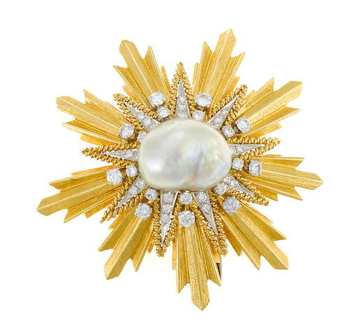 A baroque cultured pearl, diamond and gold brooch
