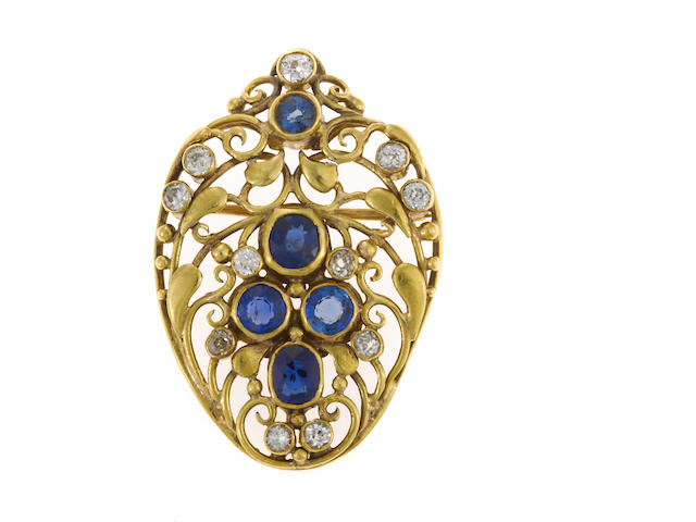 An arts and crafts sapphire, diamond, and 14k gold brooch, Frank Gardner Hale