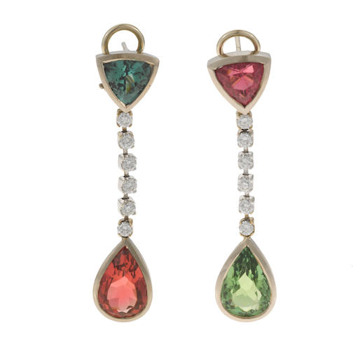 A pair of multi-color tourmaline, diamond, and 18k white gold earrings, t=8.77cts