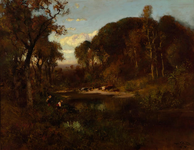 William Keith (Scottish/American, 1838-1911) Cattle watering at dusk 22 x 28in