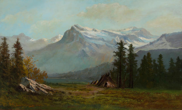William Weaver Armstrong (American, 1862-1906) Indian encampment, Strawberry Valley, California, 1885 30 x 50in