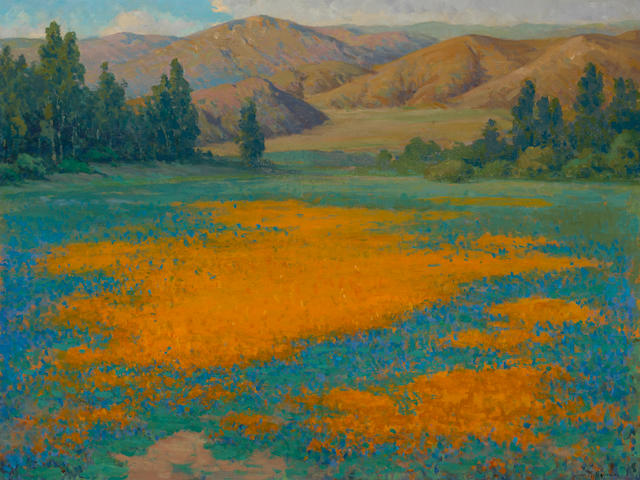 John Marshall Gamble (American, 1863-1957) Calce de oro, Poppy field near Banning 30 1/4 x 40 1/4in