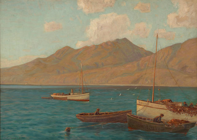 Frank William Cuprien (American, 1871-1948) Santa Monica Mountains, from the old pier, 1910 20 x 28in