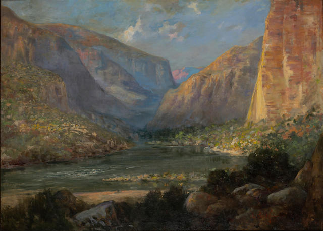 John Bond Francisco (American, 1863-1931) The Apache trail 33 1/2 x 45 3/4in