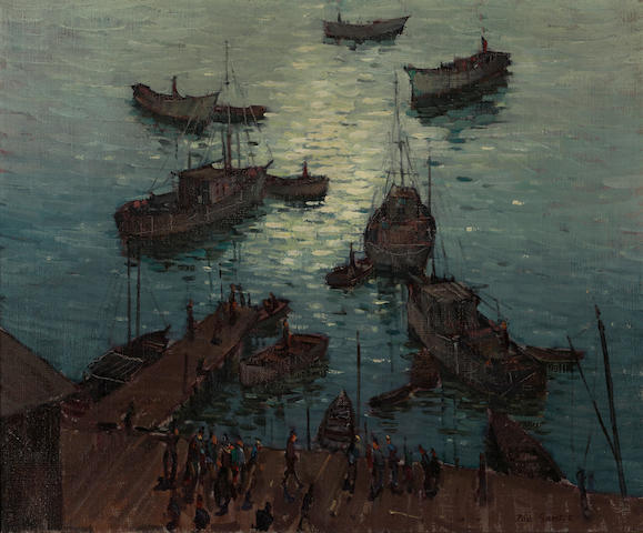 Paul Sample (American, 1896-1974) San Pedro harbor 20 1/4 x 24 1/4in