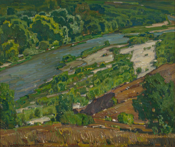 William Wendt (American, 1865-1946) Santa Ana River, 1928 25 1/4 x 30 1/4in