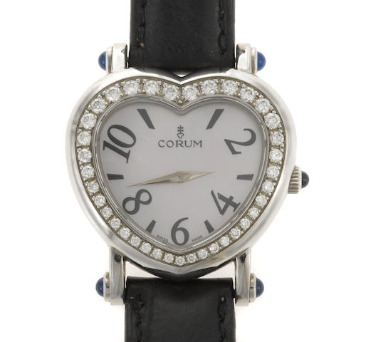 A diamond, mother-of-pearl and steel wristwatch, Corum, with later leather strap