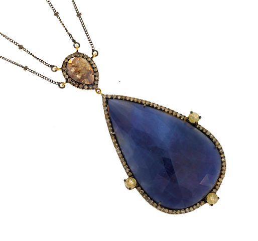 A multi-colored diamond and sapphire pendant/necklace