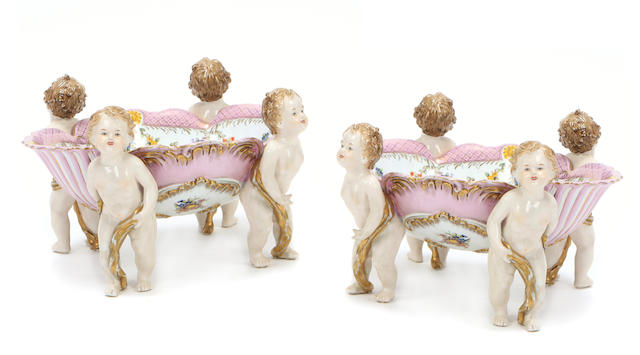 A pair of German Rococo style porcelain compotes