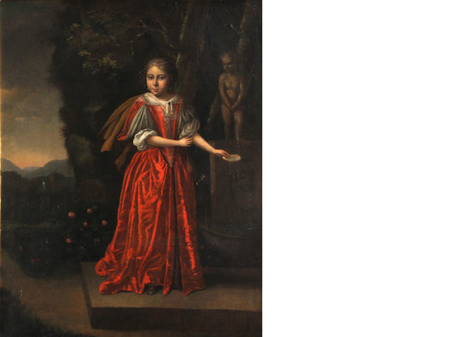 Follower of Caspar Netscher (Heidelberg 1639-1684 The Hague) A portrait of a young girl, full-length, wearing a red gown, standing before a fountain in a garden 24 1/2 x 19 3/4in