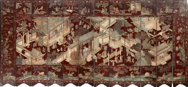 A Chinese coromandel lacquer twelve panel floor screen