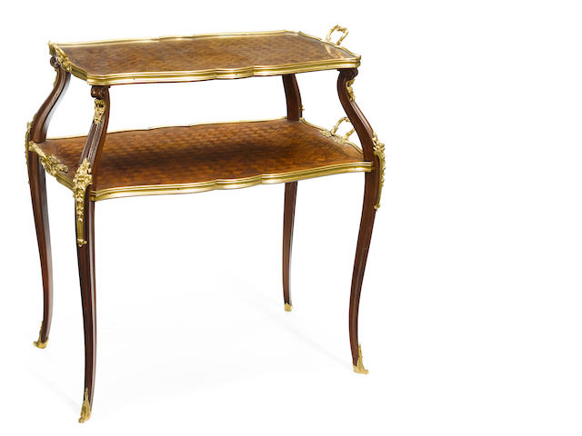 A Louis XV style gilt bronze mounted tea table