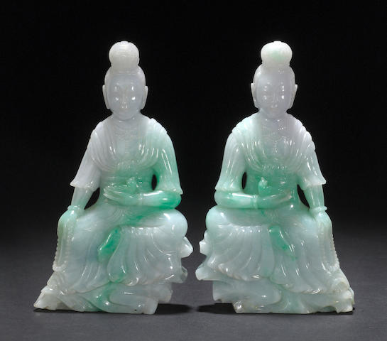 A pair of jadeite seated guanyin