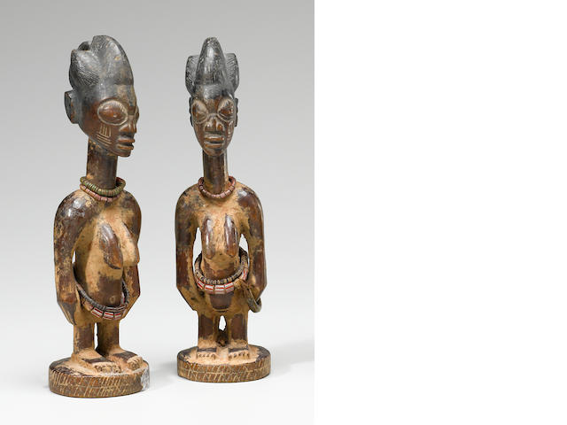 Pair of Yoruba Twin Figures, Ilorin Region, Nigeria