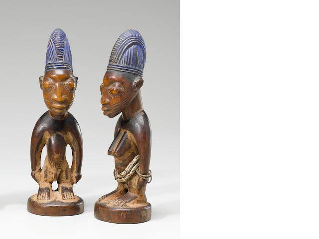 Pair of Yoruba Twin Figures, Erin, Oyo Region, Nigeria