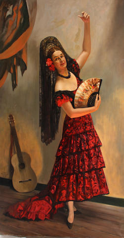 Serge Ivanoff (Russian, 1893-1983) The Spanish dancer, 1963 87 x 50in unframed