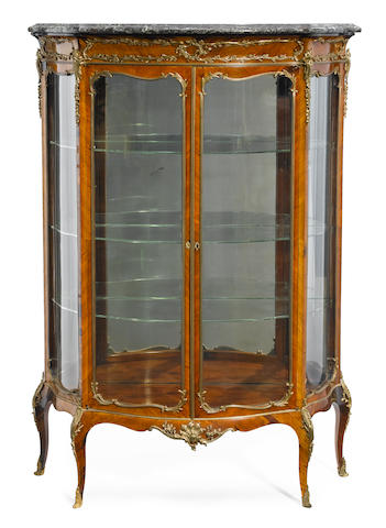 A Louis XV style gilt bronze mounted kingwood vitrine  late 19th century