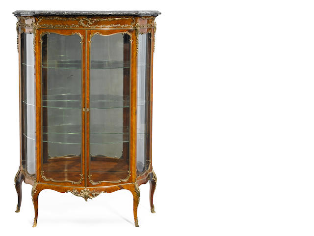A Louis XV style gilt metal mounted kingwood vitrine cabinet <BR />late 19th/early 20th century