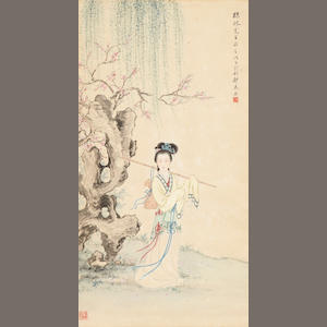 Zheng Mukang (1901-1982) Beauty Under a Willow