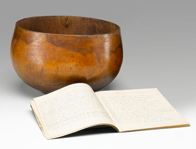 Food Bowl, Hawaiian Islands, together with a Composition Book with Handwritten, Unpublished Mele's and Chants