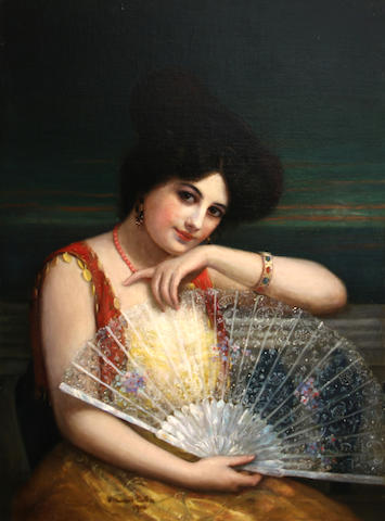 William Haskell Coffin (American, 1878-1941) Lady with a fan, 1906 30 1/4 x 22in unframed