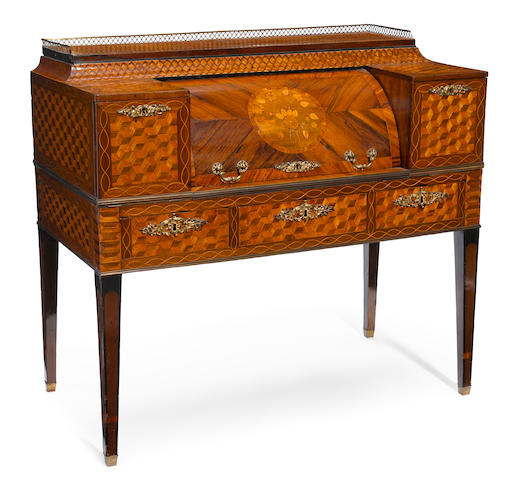 An Italian Neoclassical parquetry inlaid walnut cylinder desk  incorporating antique and later elements