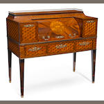 An Italian Neoclassical style parquetry inlaid walnut cylinder writing desk