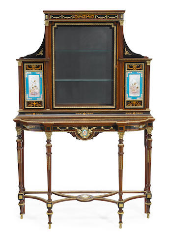 A Louis XVI style gilt bronze and porcelain mounted parquetry inlaid vitrine on stand  late 19th century