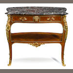 A Louis XV style gilt bronze mounted mahogany console desserte with marble top