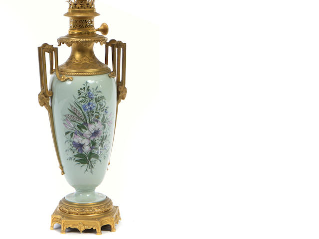 A Continental gilt bronze mounted porcelain vase, now as a table lamp