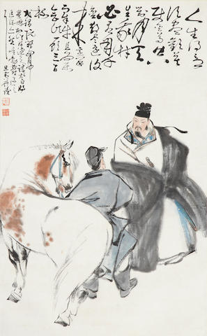 Lia Danzhai. Horse and figures, hanging scroll, ink & color on paper
