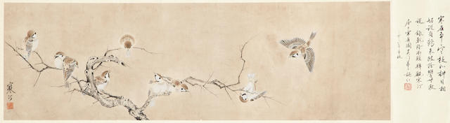 Jiang Hanting (1903-1963) Sparrows, ink & color on paper, mounted