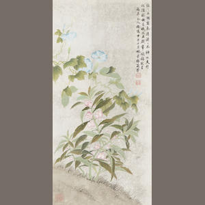 Mei Lanfang (1894-1961) Flowers, hanging scroll, ink & color on paper