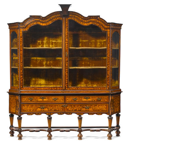 A Dutch Baroque style marquetry inlaid walnut vitrine cabinet <BR />19th century