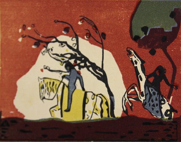 Wassily Kandinsky (Russian, 1866-1944); Zwei Reiter vor Rot, from Klänge;
