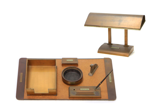 A group of bronze mounted desk accessories