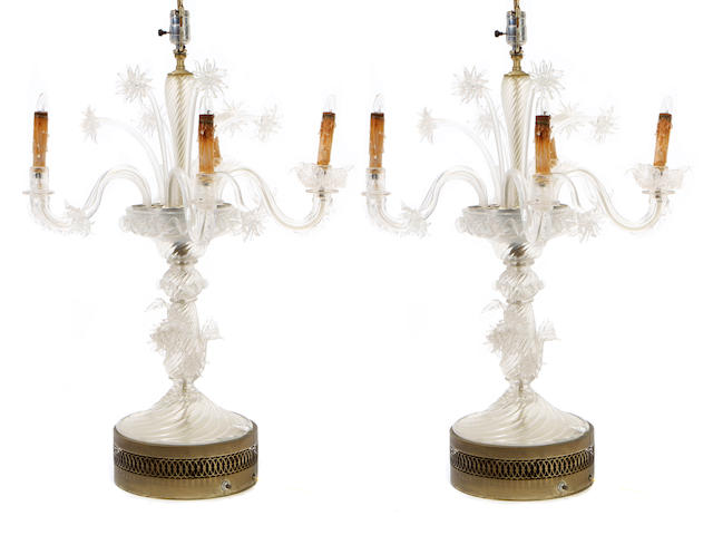 An imposing pair of Venetian glass table lamps