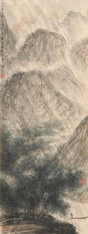 Fu Baoshi (1904-1965) Fisherman in the Rain
