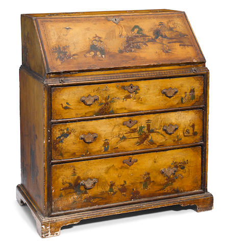A Queen Anne later decorated slant front desk <BR />early 18th century