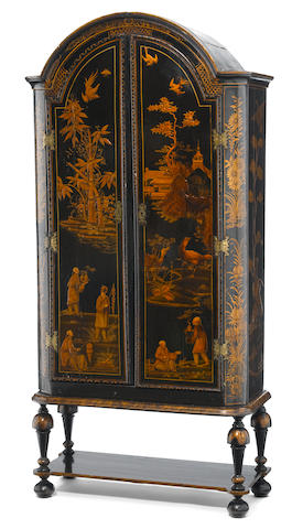 A Queen Anne lacquered cabinet on stand  incorporating antique and later elements