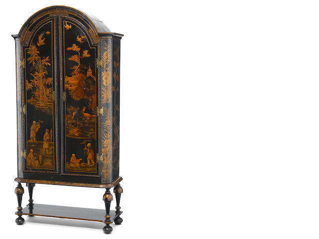 A Queen Anne lacquered cabinet on stand <BR />incorporating antique and later elements