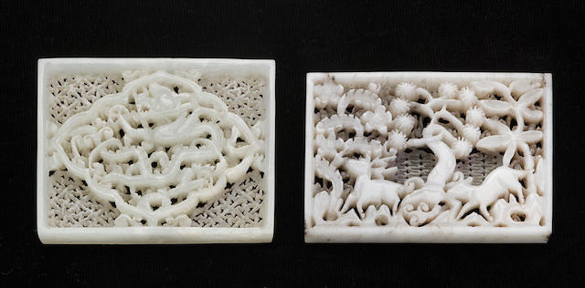 Two reticulated rectangular jade plaques, Ming dynasty