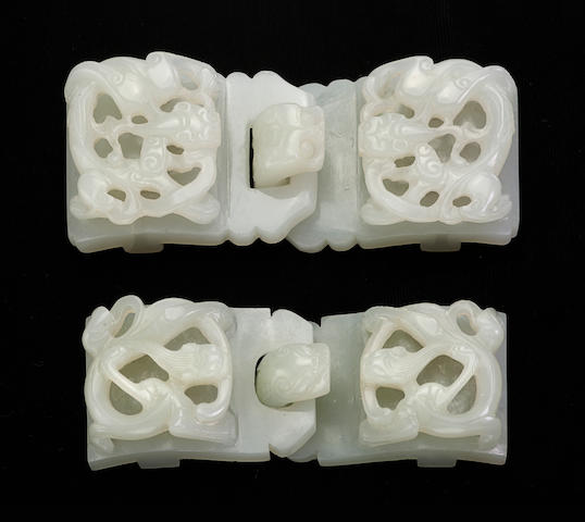 Two two-section nephrite belt buckles 18th/19th century