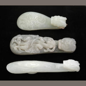 Three jade belt hooks Qing