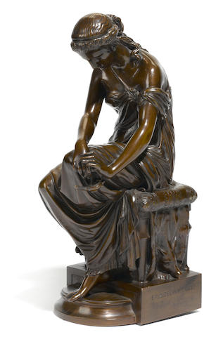 A French patinated bronze figure: Psyché <BR />after a model by Eugène-Antoine Aizelin (French, 1821-1902)<BR />F. Barbedienne foundry, Paris<BR />late 19th century