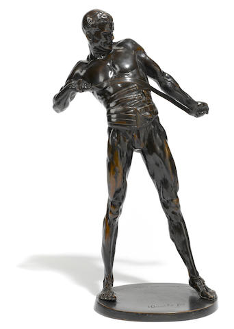 A German patinated bronze figure of a gladiator  after a model by Heinrich Baucke (German, 1875-1915)  first quarter 20th century