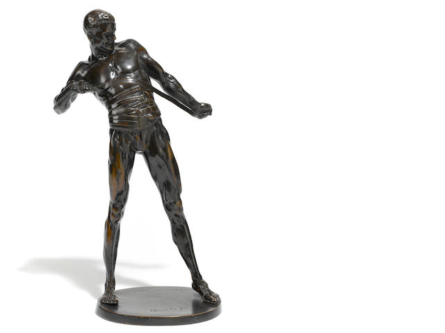 A German patinated bronze figure of a gladiator <BR />after a model by Heinrich Baucke (German, 1875-1915) <BR />first quarter 20th century