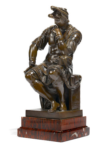 A French patinated bronze figure of Lorenzo de Medici  after the model by Michelangelo (Italian, 1475-1564) F. Barbedienne foundry late 19th century