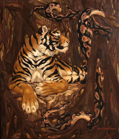 Yvonne Kleiss-Herzig Tiger with Boa oil on board 46 x 36in
